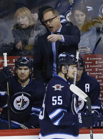 Winnipeg Jets head coach Paul Maurice motivates his players during the first period against the Dallas Stars in Winnipeg on Saturday. The team lost to the Dallas Stars.