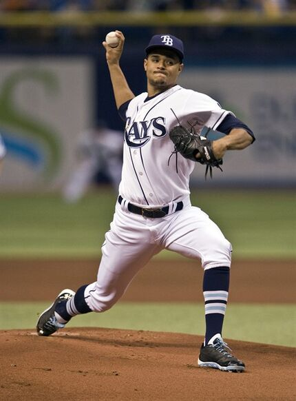 Tampa Bay Rays starter Chris Archer pitches against the Chicago White Sox during the first inning of an MLB baseball game Saturday, Sept. 20, 2014 in St. Petersburg, Fla. (AP Photo/Steve Nesius)