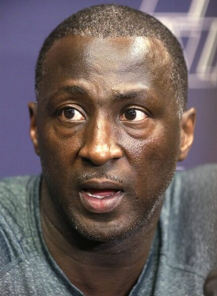 Utah Jazz coach Tyrone Corbin speaks to the media on the day the Jazz cleaned out their lockers after a 25-57 season, Thursday, April 17, 2014, in Salt Lake City. (AP Photo/Rick Bowmer)