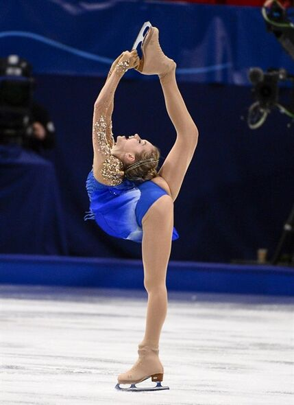 Elena Radionova of Russia skates during women's free program at the European Figure Skating championships in Stockholm, Sweden, Saturday Jan. 31, 2015. (AP Photo/Claudio Bresciani) SWEDEN OUT
