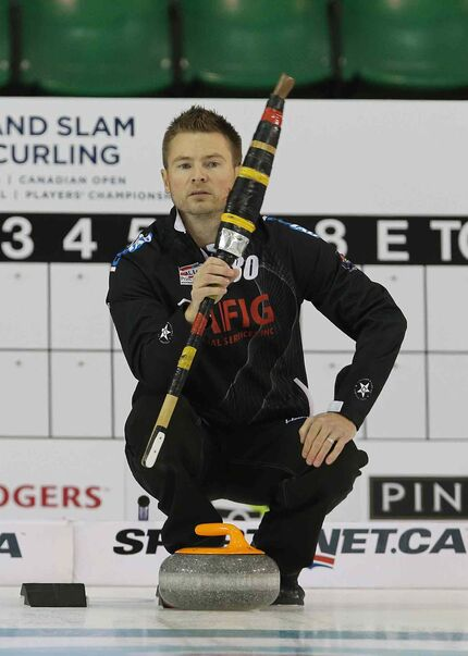 Winnipeg curler Mike McEwen prepares to shoot during action against at the Masters Grand Slam of Curling at the Selkirk Recreational Complex  in Selkirk.