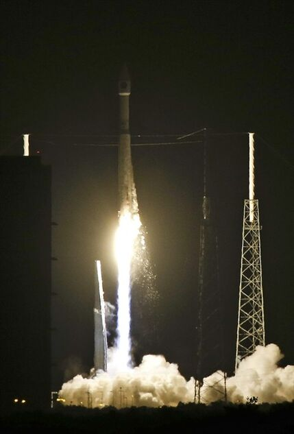 A United Launch Alliance Atlas V rocket, carrying the CLIO Spacecraft, lifts off from Complex 41 at the Cape Canaveral Air Force Station, Tuesday, Sept. 16, 2014, in Cape Canaveral, Fla. (AP Photo/John Raoux)
