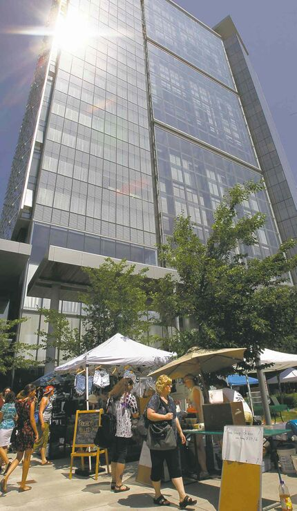 Some of the twenty vendors set up Thursday for the first day of the  Downtown Winnipeg Farmers' Market in the Manitoba Hydro Place Plaza at the corner of Graham Ave. and Edmonton St.  Items for sale include vegetables, baked goods, art work, clothing, bison, rainbow trout,chicken and lamb. The weekly market is on Thursdays and runs till Sept. 5 at 11:30A.M.-5:30P.M.  Wayne Glowacki/Winnipeg Free Press July 4 2013