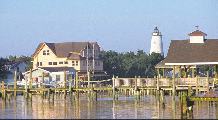 Ocracoke Lighthouse stands overlooking Silver Lake, the island�s harbor.