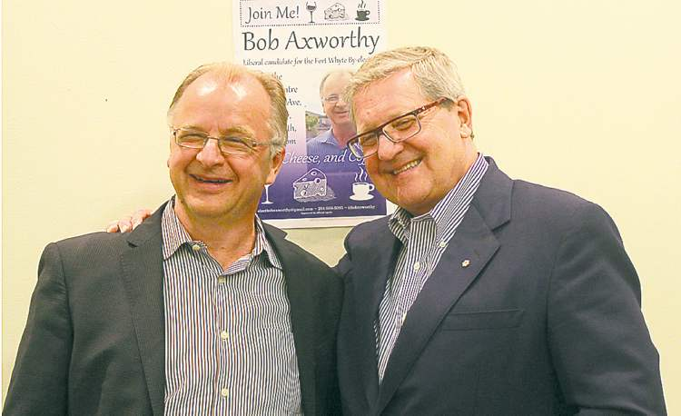 Axworthy brothers Bob (left) and Lloyd at Thursday's gathering.