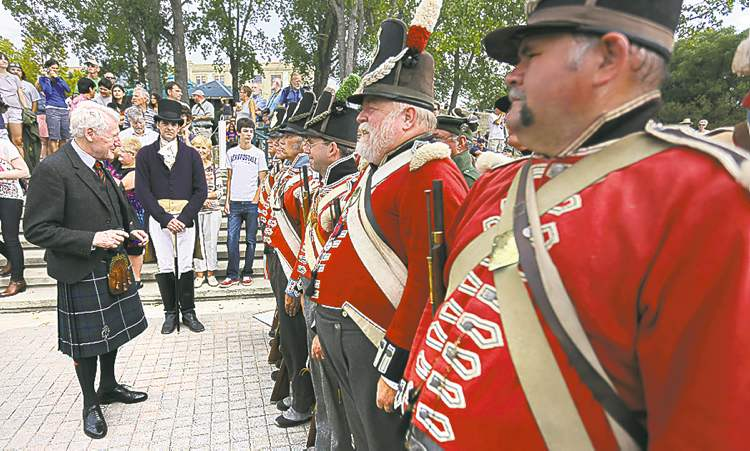 James Alexander Douglas Hamilton inspects the Forces of Lord Selkirk.