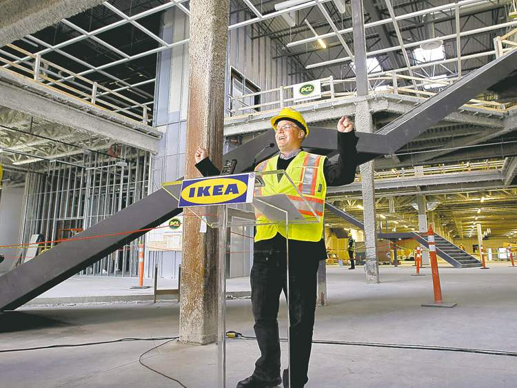 IKEA manager Stephen Bobko announces the store's opening date at an on-site news conference Wednesday. The doors open Nov. 28.