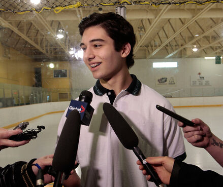 Winnipegger Stelio Mattheos was all smiles while meeting the media in May after being selected first overall by the Brandon Wheat Kings in the WHL bantam draft.