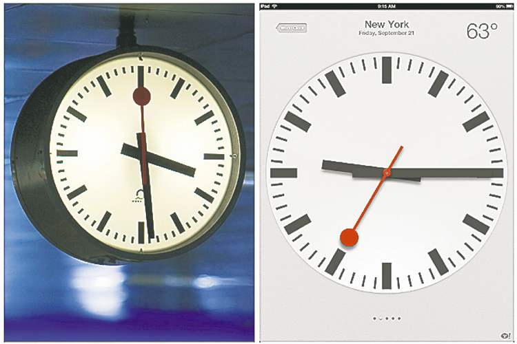 The Swiss Federal Railways clock (left) and the iPhone's new clock.