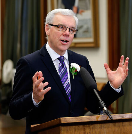 """Asked about the possibility that he might be asked to step down during a leadership contest, Premier Greg Selinger said: """"That's decided by the executive and they'll make a recommendation to provincial council."""