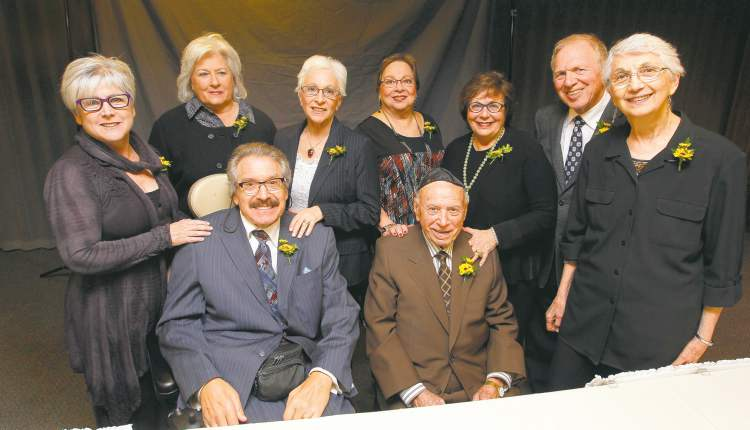 Simkin family (rear, from left): Sharron Dudeck, Judi Simkin, Barbara Hyman, Em Cohen, Jackie Simkin, Jerry Cohen and Rithie Gale.   Front row, from left: Martin Erlichman and Abe Simkin.