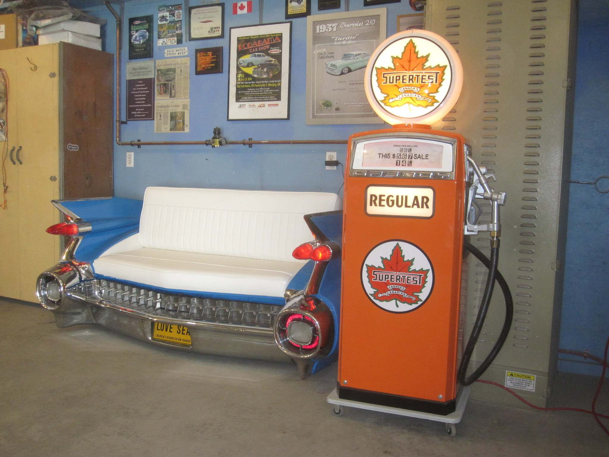 This 1959 Cadillac love seat and vintage gas pump are being raffled off in support of the Children's Rehabillitation Foundation.