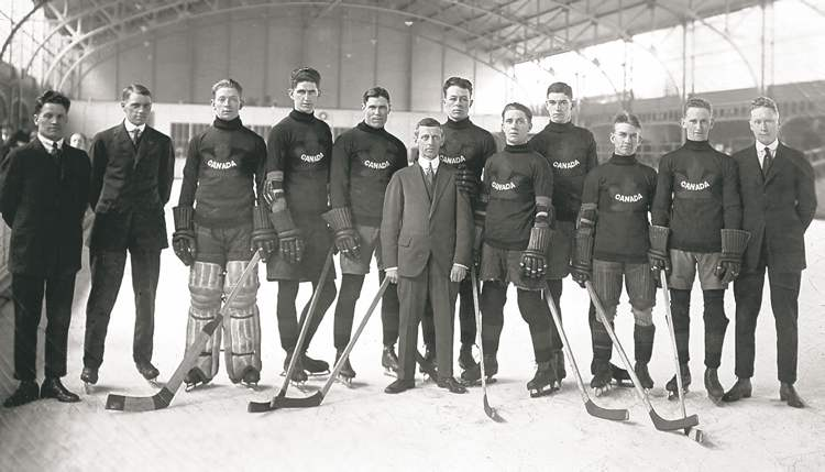 The 1920 Winnipeg Falcons --  winners of the first ice hockey Olympic gold medal.