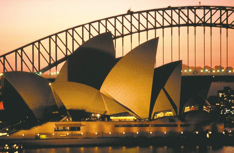 The distinctive roof of the Sydney Opera House dominates the city's skyline.
