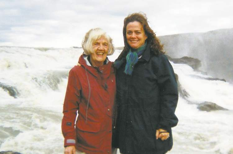 Norma (nee Ingimundson) Busby and Karen Busby at Gullfoss, Iceland.