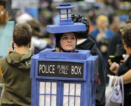Deanna Falk, as the TARDIS from Dr. Who, attends Central Canada Comic Con today. The convention runs until Sunday at the RBC Convention Centre and features guests Nicole de Boer, Rene Auberjonois and John De Lancie from Star Trek: Deep Space Nine among others.