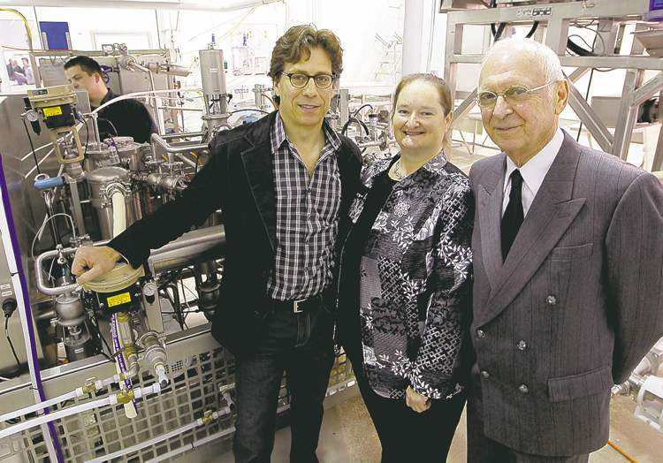 Martin Pollock, Kelly Beaulieu and Harvey Pollock (from left) with their first innovation for making vegetable purées.