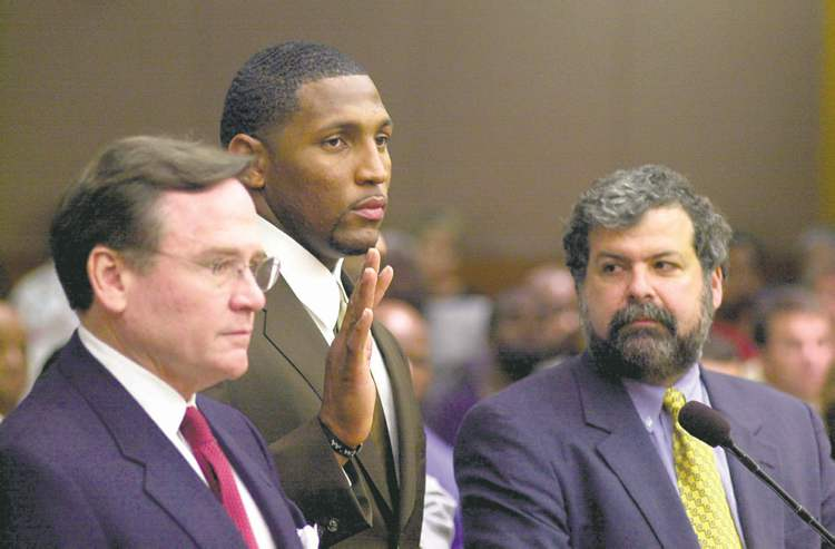 KIMBERLY SMITH / ATLANTA JOURNAL CONSTITUTION ARCHIVESBaltimore Ravens linebacker Ray Lewis on the field (top) and with his lawyers at the murder trial.
