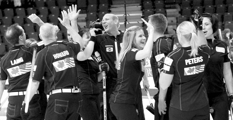 michael burns / handout photoTeam North America players celebrate after capturing the Continental Cup of Curling over Team World in Penticton, B.C., Sunday.