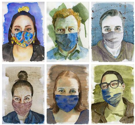 Thirty selfies led to thirty watercolour portraits for photojournalist Mike Deal.