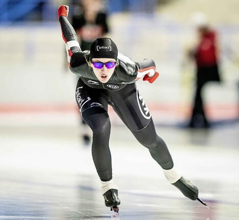 Alexa Scott skates in the 1000m race during the long track speed skating Canada Cup at the Olympic Oval in Calgary, January 6, 2019.