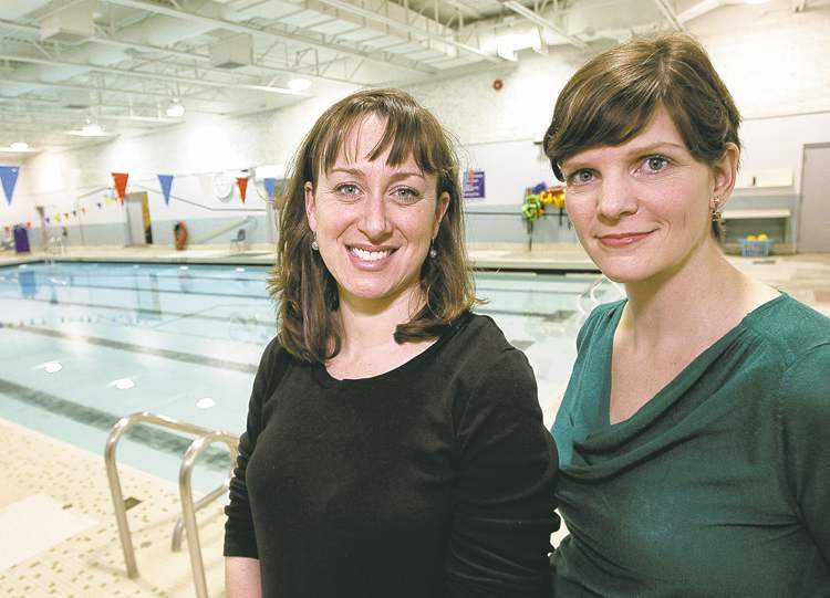 Mike Deal / Winnipeg Free Press  Olympians Rhiannon Leier Blacher (left) and Michelle Lischinsky say the city's lack of maintenance of its aquatic facilities has resulted in deterioration.