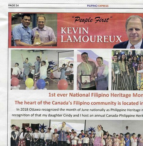 In the top left corner, MP Kevin Lamoureux poses for a photo with Rodrigo Duterte, the president of the Philippines widely seen as a dictator. The photo, which dates from Duterte's time as mayor of Davao, is being used in a Lamoureux election ad.