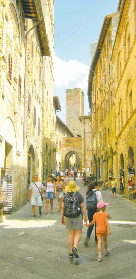 A walk through the well-preserved medieval hill town of San Gimignano, in Tuscany.