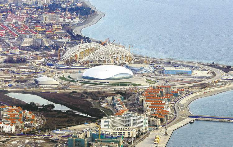 Dmitry Lovetsky / the associated pressSochi�s Olympic Park is wonderfully compact � most venues are arranged in a circular fashion within 100 or 200 metres of each other.