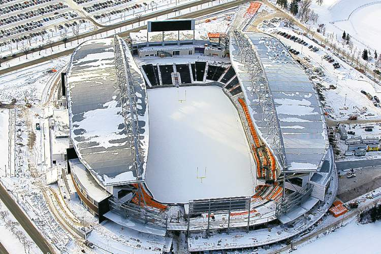 Aerial photos of Investors Group Field, currently under construction in Winnipeg. The stadium is being built on the grounds of the University of Manitoba campus at the intersection of Chancellor Matheson Road and University Crescent.