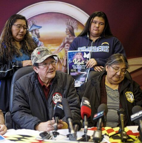 Rex Ross, left, and Hager Ross, parents of Mary �Tom� Yellowback speak about their daughter who was found dead in a recycling depot.
