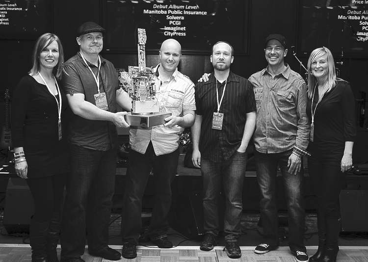 The Barenaked Webslingers � (from left) Yvonne Burman, Brent Scott, Greg Bolduc, Jon Lemer,  Greg Loeppky and Michelle English � took home the fan choice award at Techapalooza 2013.  Don Percy (right) surprised his friend Lee Major with a 75th birthday party.