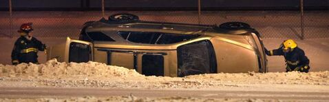 A vehicle rolled into the ditch on Lagimodiere Boulevard near Maginot Street. The driver was not taken to hospital.