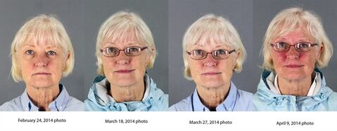 This combination of four 2014 booking photos released by the San Mateo County Sheriff's Office shows Marilyn Hartman. Federal law enforcement officials say Hartman tried at least three times to breach airport security before she was able to get through a checkpoint without a boarding pass at Mineta San Jose International Airport on Monday, Aug. 4, 2014. (AP Photo/San Mateo County Sheriff's Office)