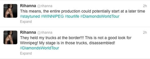 Tweets from Rihanna sent about 12:30 p.m.