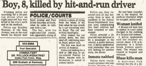 Newspaper coverage from the October 1983 crash that killed Bradley Bluecoat. No suspects were ever identified in the deadly hit-and-run.