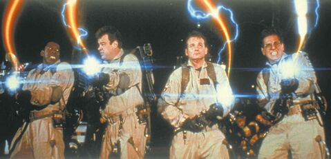 SONY PICTURESFrom left,  Ernie Hudson,  Dan Aykroyd,  Bill Murray  and Harold Ramis  fight the good fight against ectoplasm  in 1984�s Ghostbusters.