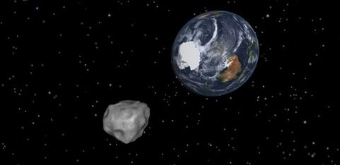 This image provided by NASA/JPL-Caltech shows a simulation of asteroid 2012 DA14 approaching from the south as it passes through the Earth-moon system on Feb. 15, 2013. THE CANADIAN PRESS/AP-NASA/JPL-Caltech