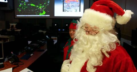 Saint Nick meets with Norad officers Wednesday morning.