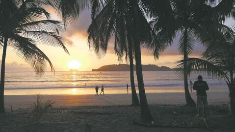 Playa Carrillo is lovely and can be walked from end to end in about 45 minutes. The beach curves around gently,  palm trees provide shade and the waves are just right for frolicking.