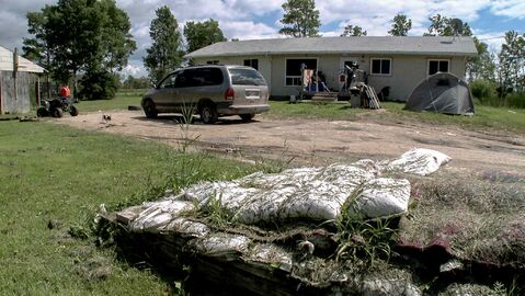 Delma Brass's condemned family home on Little Saskatchewan First Nation