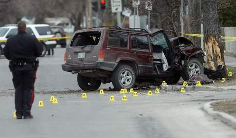 Police investigate an SUV hit a tree on Arlington Street at Polson Avenue at approximately 2 a.m. Wednesday. Two people were taken to hospital and  Arlington is closed from Atlantic to Inkster.