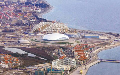 The Olympic Park seen while under construction for the Winter Olympics in Sochi, Russia. The 2014 Winter Olympics will kick off on Feb. 7, 2014.