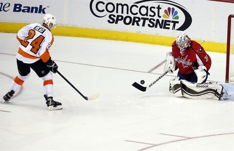 Washington Capitals goalie Philipp Grubauer (31), from Germany, stops a shot by Philadelphia Flyers right wing Matt Read (24) in the shootout portion of an NHL hockey game, Sunday, Dec. 15, 2013, in Washington. The Capitals won 5-4 in a shootout. (AP Photo/Alex Brandon)