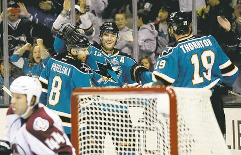 San Jose Sharks' top line of Joe Pavelski, Patrick Marleau and Joe Thornton is gobbling up points at a record pace.