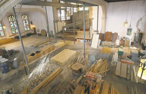The interior of St. Matthew's Anglican Church is being torn up as work proceeds.
