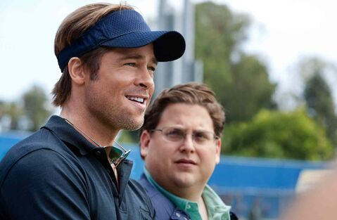 Brad Pitt (left), and Jonah Hill in 'Moneyball,' a movie that popularized the practice of building a winning team out of unlikely players based on analysis of their statistics.