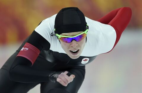 Canada's Christine Nesbitt races during the 1,000m speedskating race at the Sochi Winter Olympics Thursday February 13, 2014 in Sochi, Russia. THE CANADIAN PRESS/Adrian Wyld