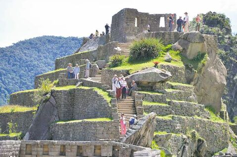 Some of the highest ground on the Machu Picchu mountaintop is reserved for the temple of the three windows and the astronomical observatory.