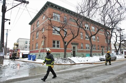 A fire in an apartment building in the 600 block of Westminster Avenue between Furby and Langside streets has displaced the residents of the building for most of Sunday morning. No injuries were reported at the scene.
